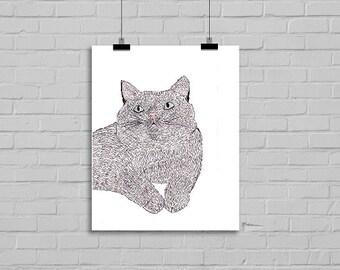 Kitty Cat Drawing Illustration Art Watercolor Painting Print