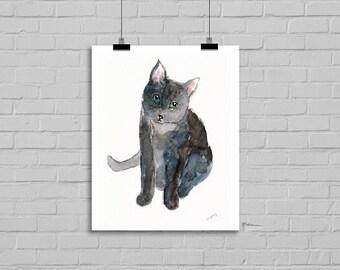 Cat Watercolor Russian Blue Cat Grey Blue Kitty Cat Watercolor Painting Print Gray Cat Print