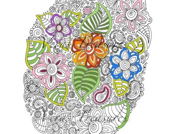 Colouring Page for Adults Art Therapy, relaxation, flower seed. instant digital download print.