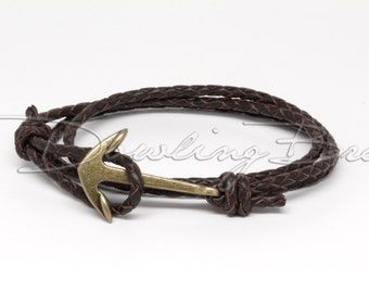 Anchor Bracelet on Chocolate Dark Brown Braided Leather Cord