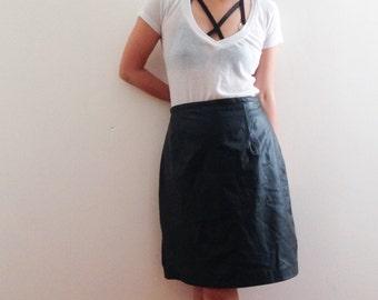 Genuine Black leather skirt
