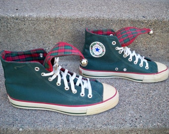 Vintage CONVERSE Christmas Bells Jingle High Top Skater Hipster Shoes Sneakers Men's Kicks Made in USA Size 9.5