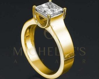 Diamond Anniversary Ring 18 Karat Yellow Gold 1.75 Carat Certified Princess Cut F SI1 Women Diamond Ring