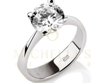 Diamond Engagement Ring Solitaire F VS1 Round Cut Diamond 14K White Gold Ring For Women