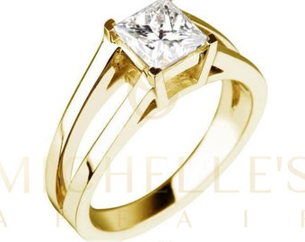 Diamond Engagement Ring 1.65 Carat Princess Cut G VS2 Women Solitaire Ring 18 Karat Yellow Gold