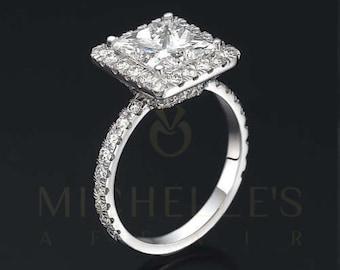 Women Diamond Engagement Ring 14 Karat White Gold 2.00 Carat F VVS1 Princess Cut Certified Diamond Wedding Ring