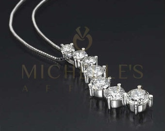 Diamond Journey Pendant Necklace Set For Women 2 ct E SI1 Round Cut 14K White Gold