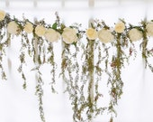 Wedding Arch Garland Cascading Spring Greenery and Roses Silk Swag Arrangment Off White Faux Home Decor or Wedding Gazebo Plumerias Orchids