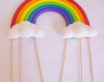3D Rainbow with Puffy Clouds Edible Fondant Cake Topper 8 inch