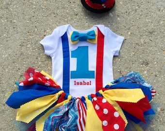 Circus outfit, Clown Outfit - personalized - shabby chic outfit, mini top hat, circus birthday