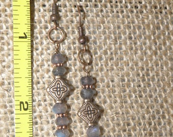 Labradorite in Bronze Earrings