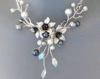 Silver Grey & White Pearl Twisted Wire Vine Necklace - Bridesmaid Jewellery - With Czech Glass ,Leaves - UK seller