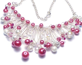 Dusky Pink & White Pearl Twisted Wire Vine FULL Necklace - With Swarovski Crystals - UK seller
