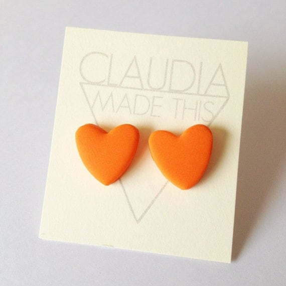 Orange Heart Earrings By Claudia Made This