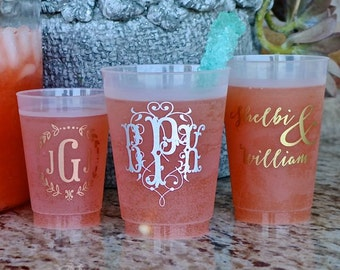 Personalized Frosted Wedding Cups, Custom Printed Cups, Personalized Wedding Favors, Monogrammed Cups, Custom Plastic Cups, Custom Cups