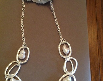 Necklace White Fresh Water Pearls large oval chain