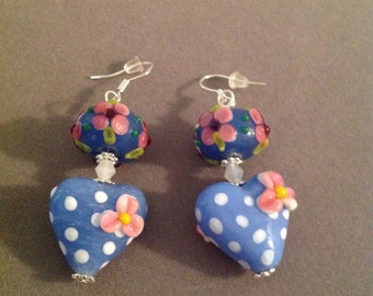 Earrings lamp work glass hearts puerced