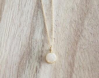 Tiny Gold + White Druzy Necklace, gold necklace, tiny druzy necklace, white druzy, druzy agate, gold and white necklace, gold necklace,