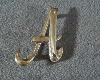 Vintage Sterling Silver Oblong Dimensional Initial Monogram Script  A  Design Pin Brooch