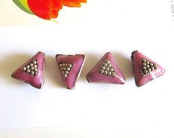 Silver Metal and Dusty Rose Enamel Beads, Vintage Handmade Cloisonne, Triangle Beads, Pink Enamel Beads, Triangle Cloisonne Beads, 4 Pcs