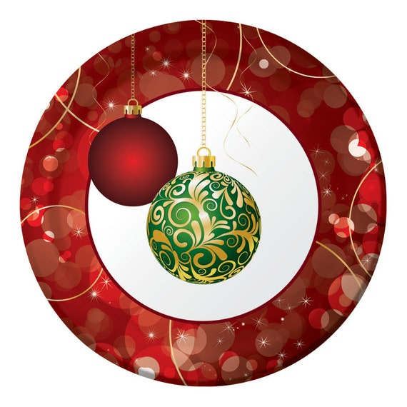 Superior Christmas Party Paper Plates Part - 5: Items Similar To Christmas Elegant Ornaments Party Paper Dinner Plates,  Christmas Decor Red Green Gold White Tableware, Buffet Plates, Food Plates  On Etsy