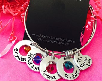 The Reason I Am Personalized Hand stamped Bangle with swarovski crystal