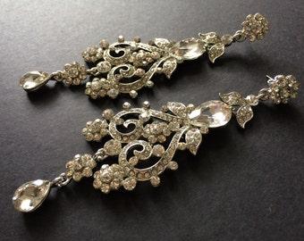 Vintage Style Dangle Chandelier Swarovski Rhinestone Crystals Wedding Bridal Earrings