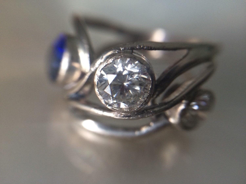 unique branch blue sapphire engagement 14k white gold ring