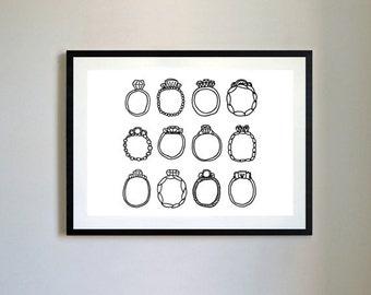 Rings Illustration Print.