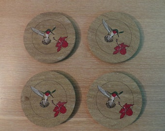 Vintage Hidostone Humingbird Stone Drink Coaster Set Made In USA
