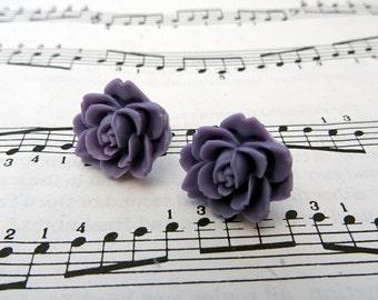 Lilac flower earrings - clip on earrings - purple lavender rose, vintage inspired