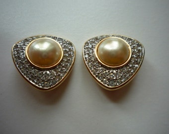 Vintage Swarovski Crystal Mabe Pearl Gold Tone Clip On Earrings Wedding Bridal