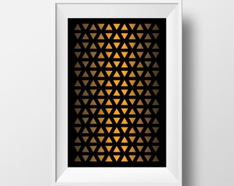 Golden triangles pattern on black printable wall art, downloadable poster