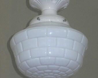 20s - 30s Subway Tile Shade on Vintage White Porcelain Fitter
