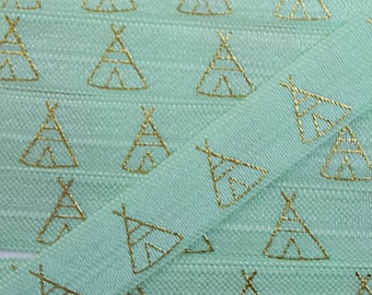 5/8 MINT with Gold Tent/Teepee Fold Over Elastic