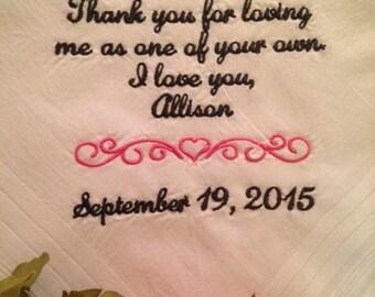 Stepfather Wedding Gift - Handkerchief Hankie - Hanky - Step Father - Stepdad Wedding Gift for Stepfather Dad