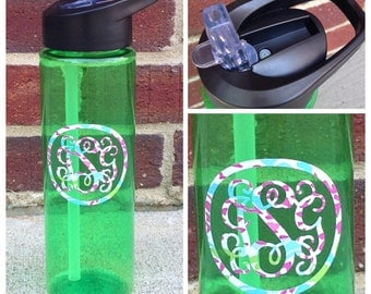 Monogrammed Water Bottle, Personalized Water Bottle, Sports Bottle, BPA Free, Green, Red, Blue water bottle