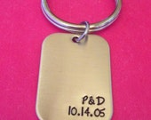 Personalized Initials and Date rectangle key chain for Him or Her