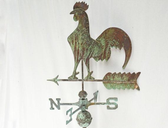 Vintage Weather Vane: Vintage Copper Weathervane Farmhouse Rooster Weather Vane