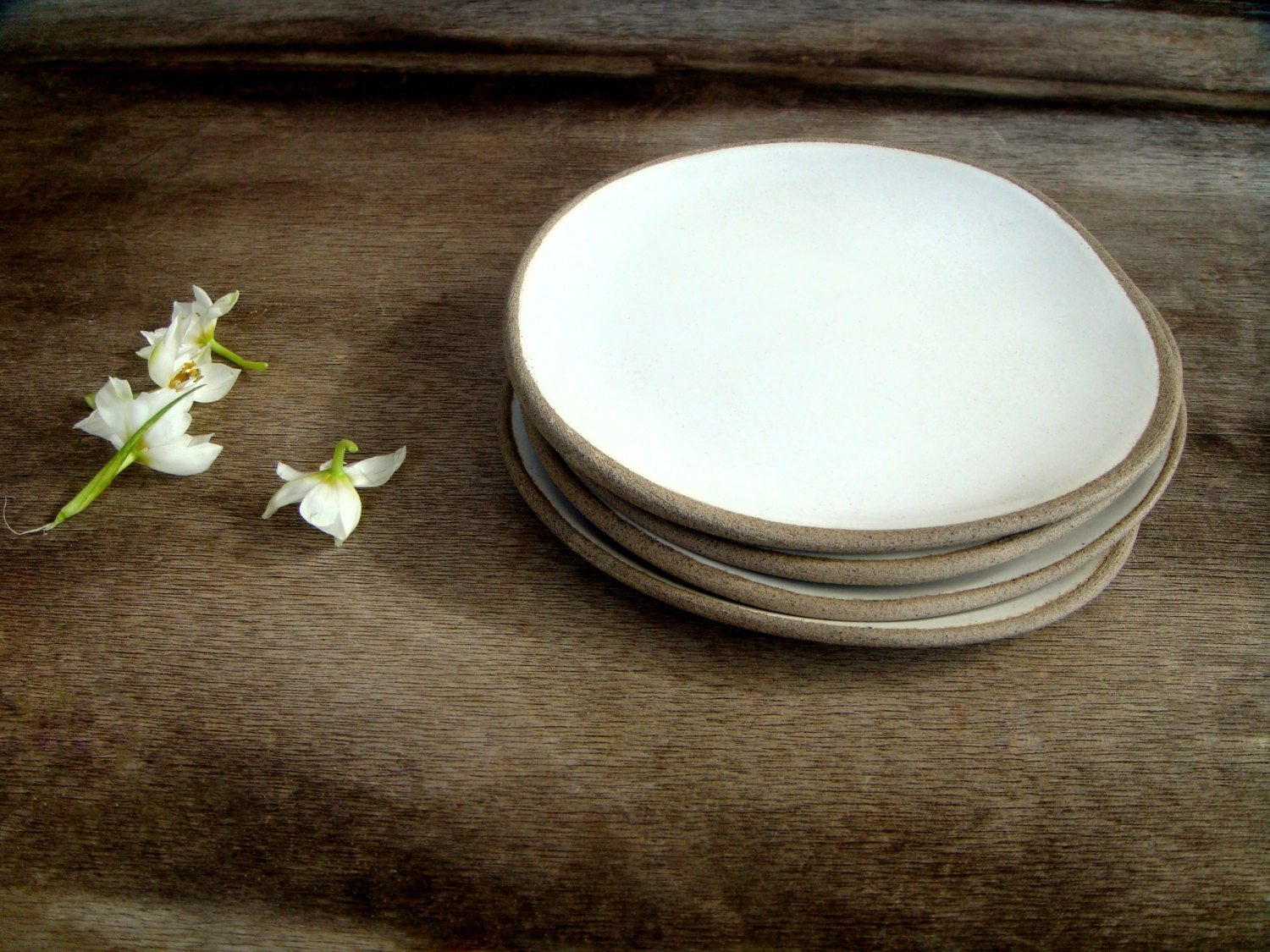 Gray Ceramic Plates Set Of 4 Handmade Stoneware Plates By