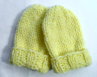 Knitted Baby Mittens - Knit Thumbless Infant Mittens - 0 to 3 Months - Light Yellow