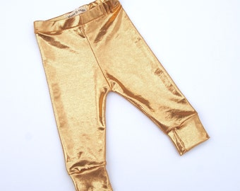 Gold shiny infant/toddler leggings