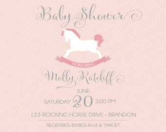 BABY ROCKING HORSE Sprinkling or Shower Invitation - Front and Back designs included!