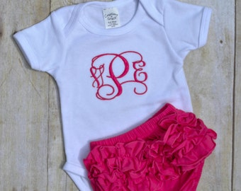 Personalized Onesie and matching Bloomer Outfit