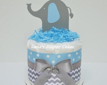 Blue And Gray Chevron Elephant Mini Diaper Cake Baby Shower Centerpiece