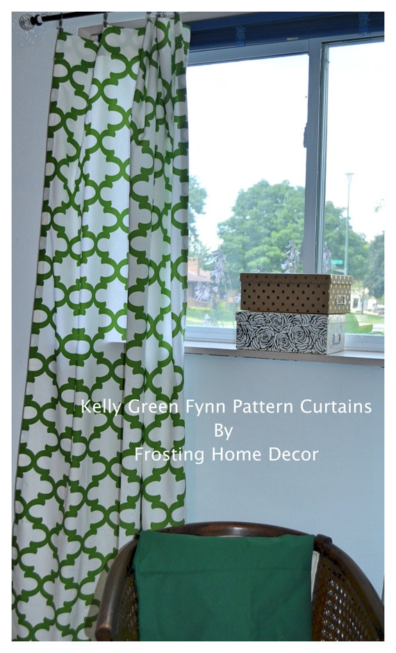 Kelly Green Curtains With Light Gray Grasscloth Walls: Items Similar To One Pair Kelly Green Designer Curtains