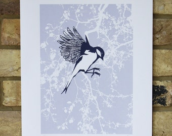 bird print, limited edition screen print, hand printed bird screen print, bird illustration with spring leaves, blue bird art