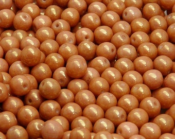 50pcs 6mm Czech Glass Pressed Beads Round Chalk Red Luster (6RP010)
