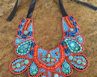 Stunning Vintage Native Made Glass, Turquoise, Spiny Oyster Beaded Collar