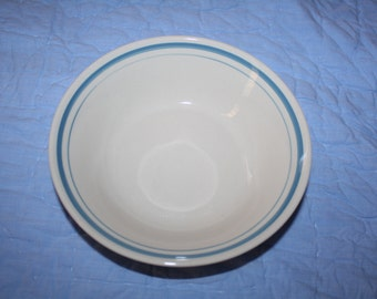 Vintage Blue Striped BOWL White and Blue Cereal Bowl
